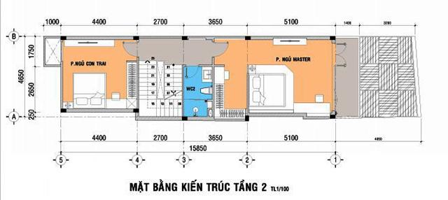 Mặt bằng thiết kế tầng 2