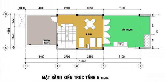 Mặt bằng thiết kế tầng 5