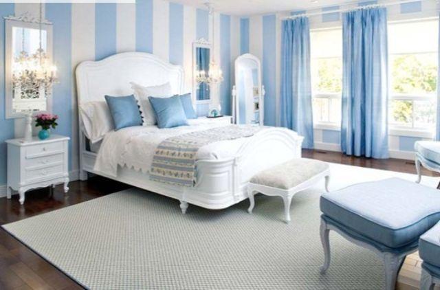 Phòng ngủ với tông màu xanh thoáng mát