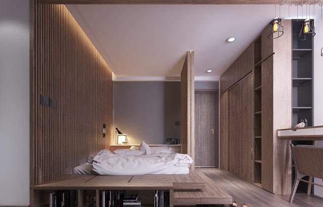 Phòng ngủ vợ chồng với gam màu gỗ nâu quyền quý, đẳng cấp