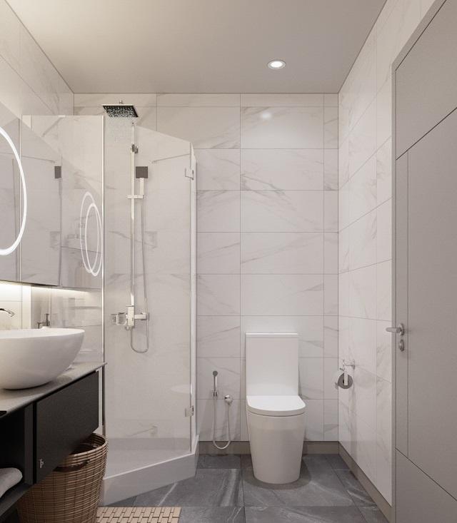 Phòng tắm căn hộ với thiết bị hiện đại, sang trọng