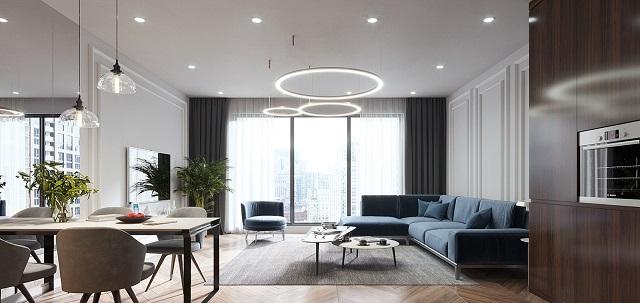 Căn phòng khách có thiết kế sang trọng, rộng rãi, có thể đủ chỗ cho khoảng 10-15 người ngồi thoải mái