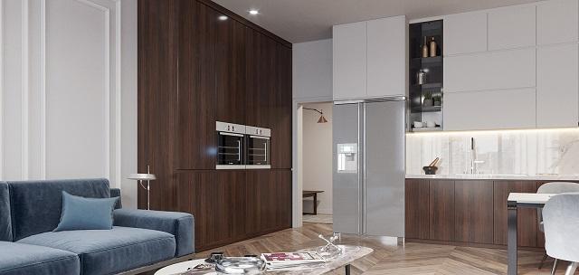 Gian bếp nối liền với phòng khách, kết hợp cùng đồ nội thất cao cấp tạo không gian rất tinh tế, đẹp đẽ