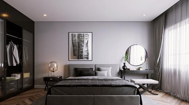 Phòng ngủ với nội thất đồ gỗ chủ đạo cùng tone màu trầm tạo cảm giác ấm cúng, hiện đại