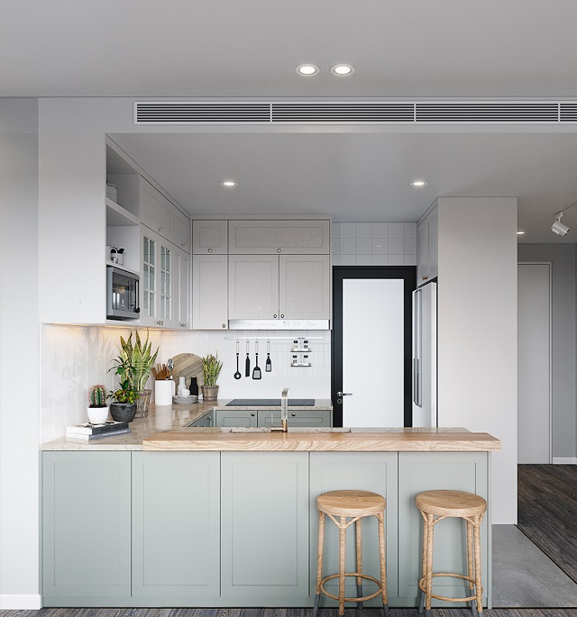 Phòng bếp nhỏ xinh nhưng không kém phần tiện nghi, hiện đại