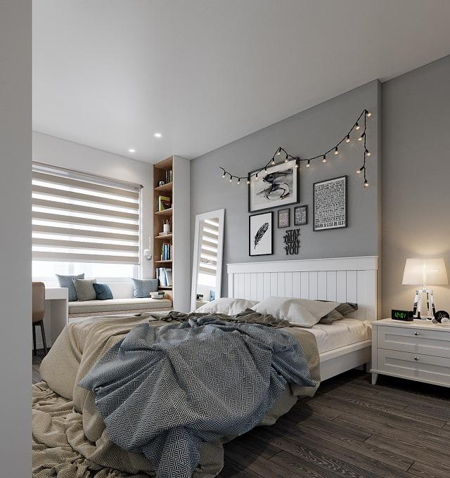 Phòng ngủ với nội thất đơn giản nhưng vẫn cho thấy được sự hiện đại, cá tính của chủ nhân
