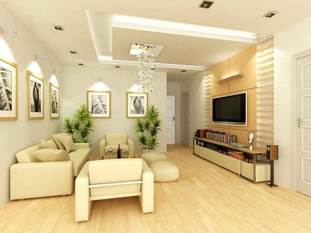 Với nhà có không gian bé, muốn có nhiều ánh sáng thì mẫu trần thạch cao này rất hợp lý
