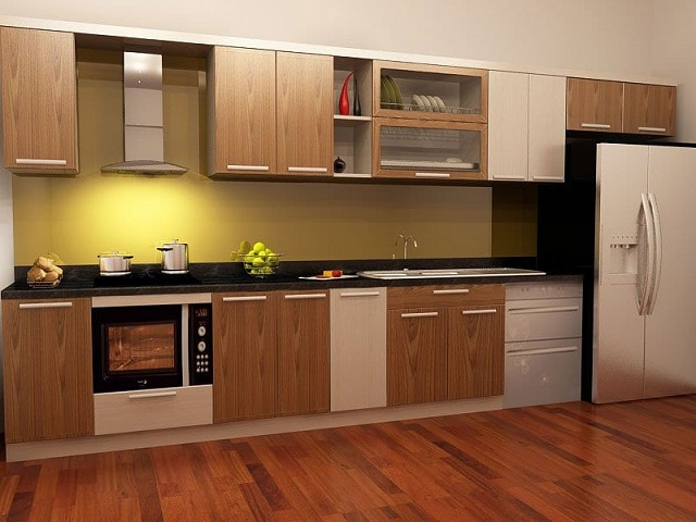 Một mẫu tủ bếp cho căn hộ 60m2 làm từ chất liệu melanine vân gỗ