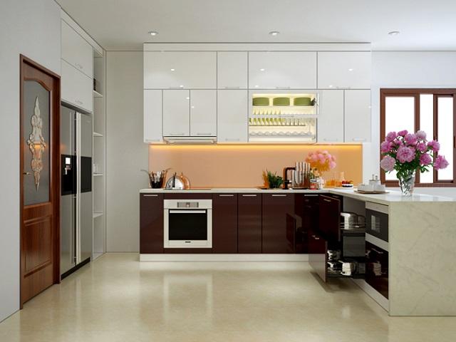 Mẫu tủ bếp dành cho chung cư 70m2 vừa tiết kiệm diện tích lại vô cùng sang trọng
