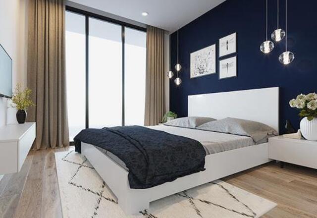 phòng ngủ Sơn màu tương phản 1