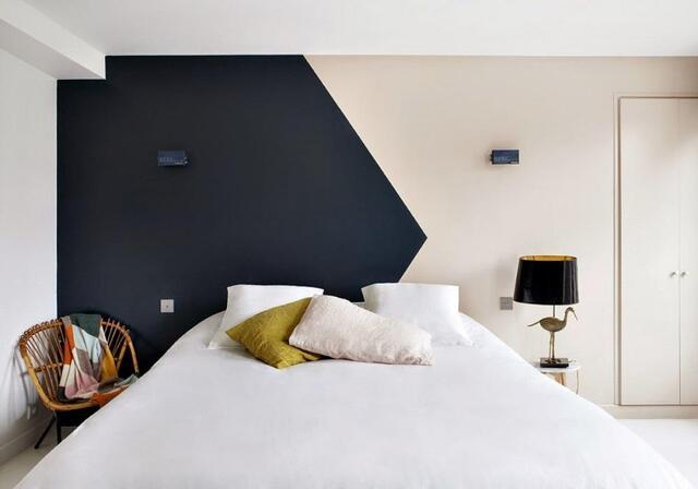 phòng ngủ Sơn màu tương phản