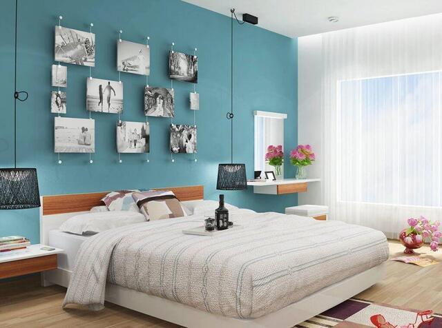 phòng ngủ Sơn màu xanh ngọc