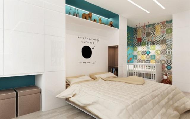 Phòng ngủ với các họa tiết bắt mắt, lôi cuốn cùng tone màu trắng tươi sáng