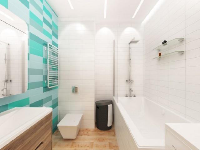 Thiết kế nội thất nhà vệ sinh với tone màu xanh trắng tạo cảm giác mát mẻ, thoáng đãng