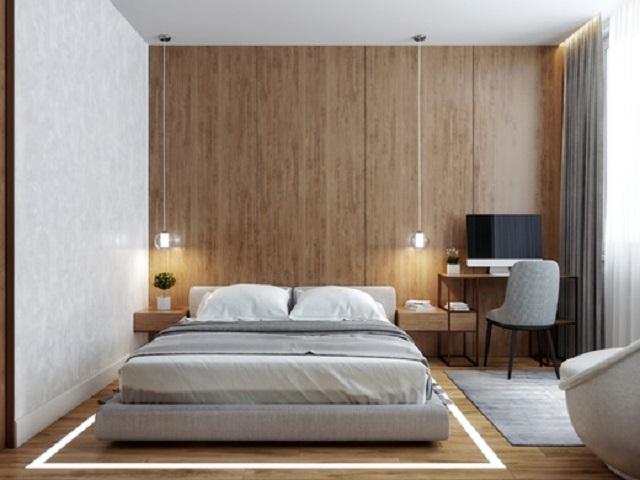 Phòng ngủ với nội thất tối giản, tạo nên không gian vô cùng thoáng đãng