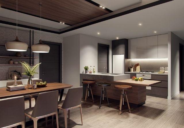 Gian phòng bếp tiện nghi đầy đủ, nhìn cực đẳng cấp