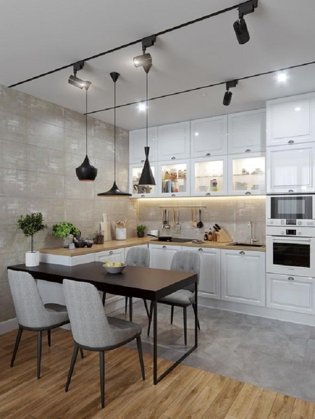 Phòng bếp hiện đại tại chung cư 50m2