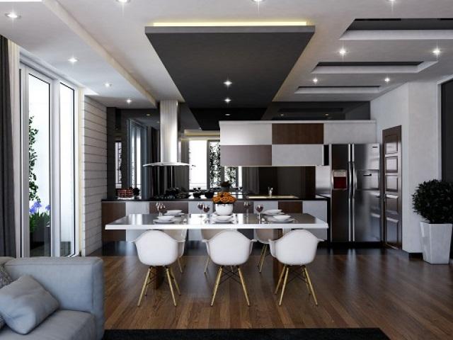 Trần thạch cao phòng bếp dạng giật cấp làm phòng thu hút, tinh tế hơn
