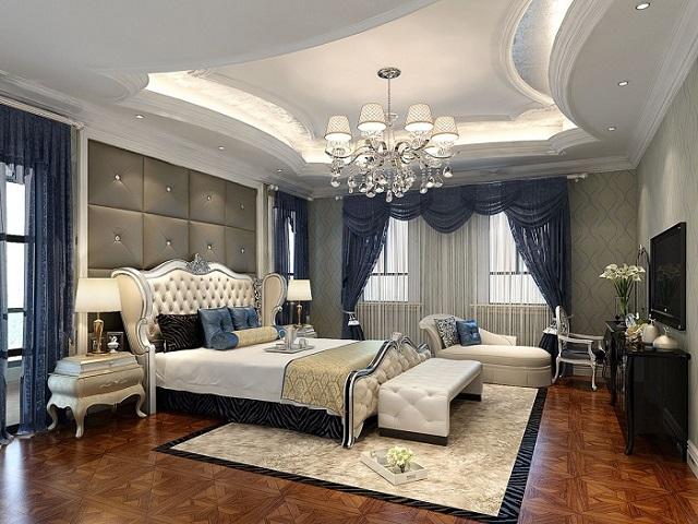 Trần thạch cao chung cư phòng ngủ theo lối tân cổ điển