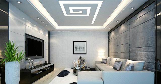 Trần thạch cao hình dấu ấn kết hợp cùng kiến trúc hiện đại giúp tạo điểm nhấn ấn tượng cho phòng