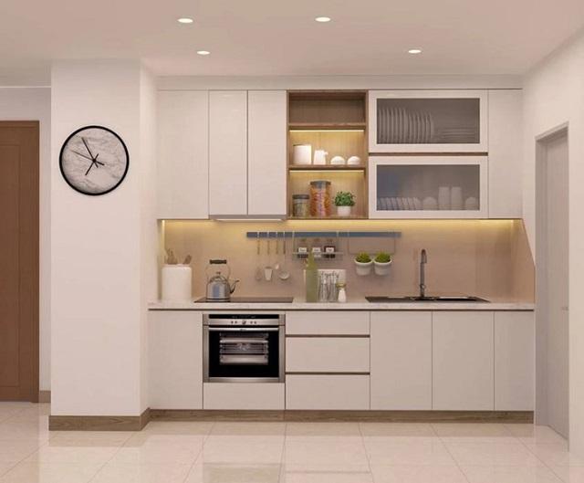 Mẫu tủ bếp nhỏ xinh nhưng rất đầy đủ