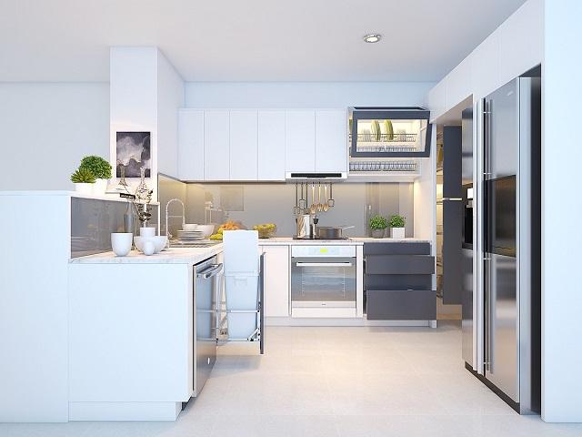 Mẫu tủ bếp này phù hợp với những căn hộ có không gian rộng