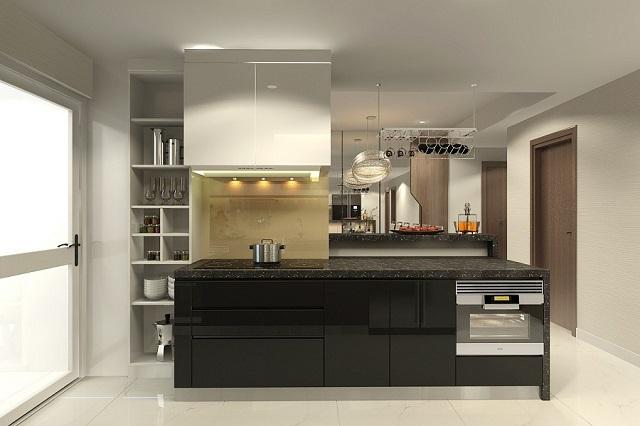 Mẫu tủ bếp này nhìn gọn mà cực sang phải không nào?