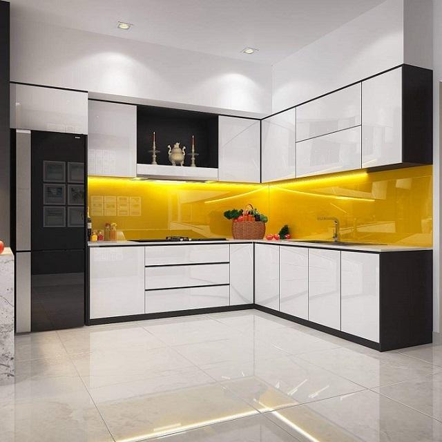 Tủ bếp trên đây thích hợp cho căn hộ có không gian sang trọng