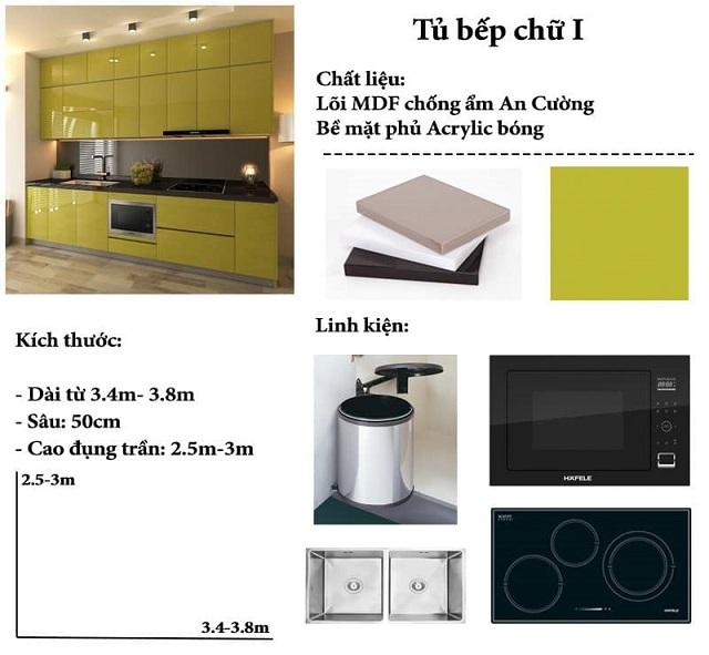 Thông tin mẫu tủ bếp chữ I dành cho chung cư nhỏ