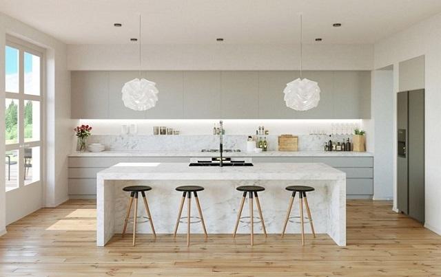 Tủ bếp của chung cư với tone màu trắng cùng họa tiết đơn giản, tinh tế