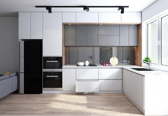 Tủ bếp dành cho chung cư với thiết kế hiện đại
