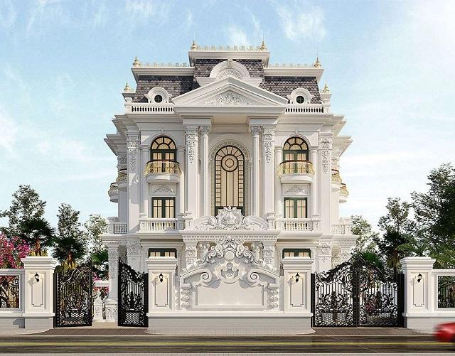 Bản vẽ 3D mặt tiền biệt thự tân cổ điển