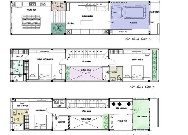 Bố trí các phòng trong nhà ống 3 tầng