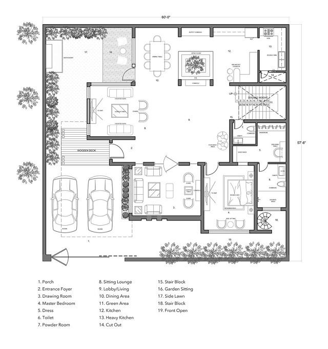 Bản vẽ thiết kế biệt thự tầng 1
