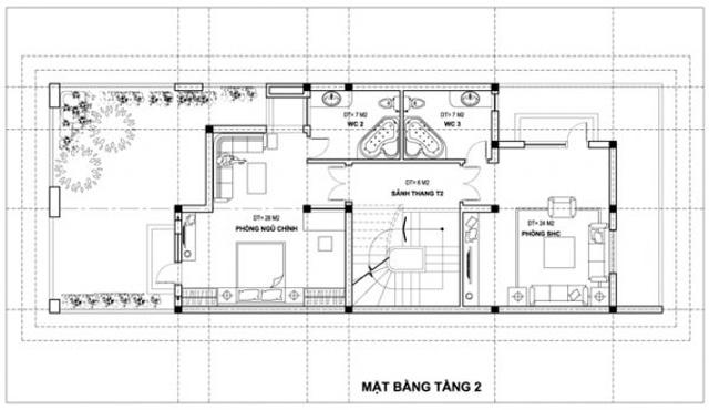 Bản vẽ thiết kế tầng 2
