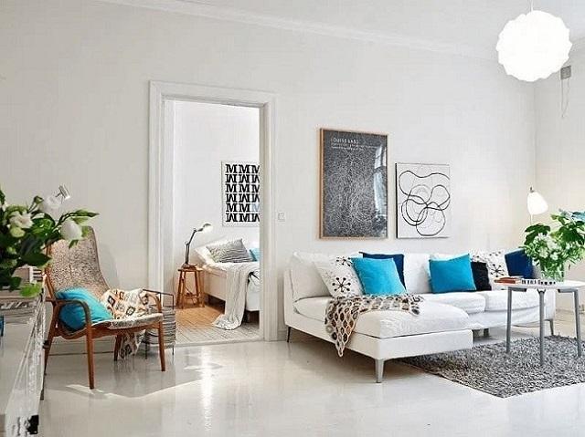 Tường màu trắng tạo cho ngôi nhà sự tinh tế, sang trọng