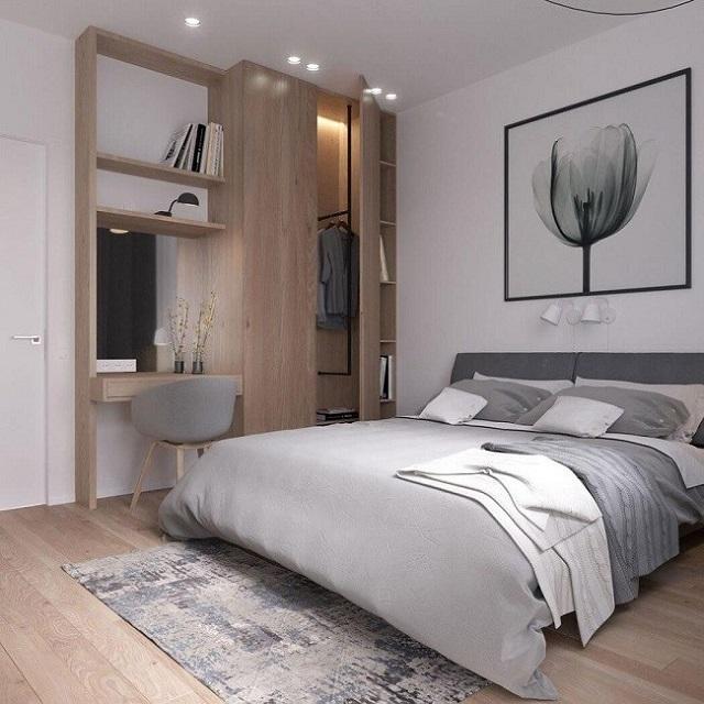 Phòng ngủ được làm từ gỗ, nhìn rất ấm cúng