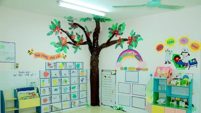 Trang trí cây cối bằng giấy cùng các họa tiết sinh động tại góc lớp