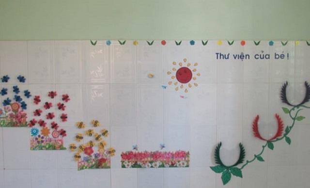Trang trí lớp bằng hình hoa lá