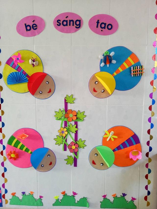 Trang trí lớp học với họa tiết do chính các bé sáng tạo