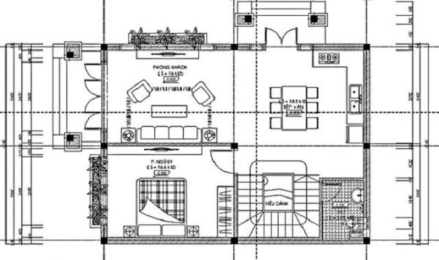 Hình 14: Thiết kế tầng 1 biệt thự vườn