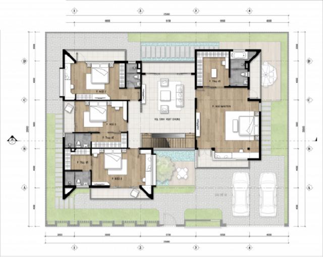 Hình 19: Thiết kế mặt bằng tầng 2 biệt thự 25x20m