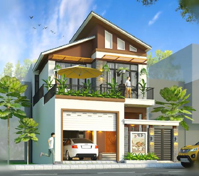 Hình 21: Thiết kế biệt thự phố mái lệch