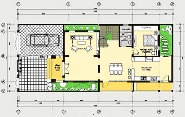 Hình 22: Thiết kế tầng 1 biệt thự phố