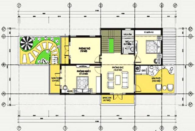 Hình 23: Thiết kế mặt tầng 2 biệt thự phố