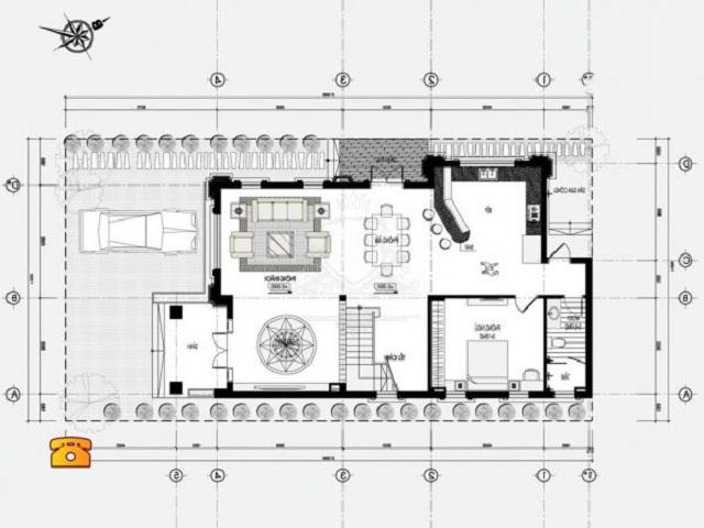 Hình 26: Thiết kế tầng 1 biệt thử tân cổ điển