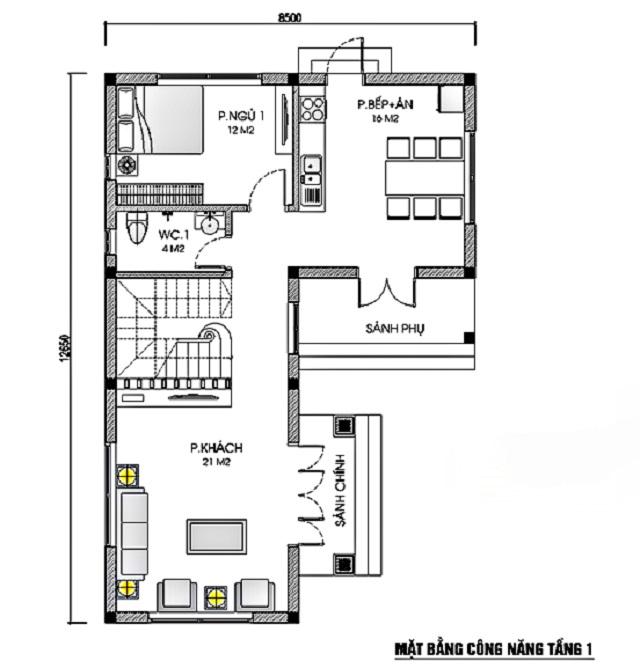 Hình 4: Thiết kế mặt bằng tầng 1