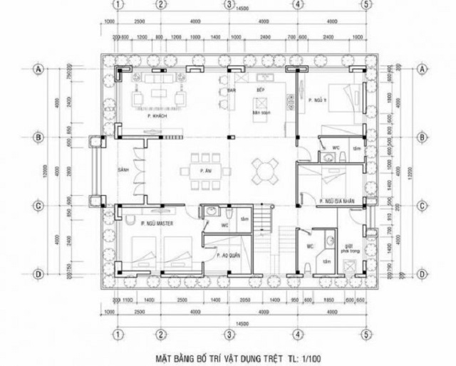 Hình 9: Thiết kế mặt bằng và bố trí nội thất tầng trệt