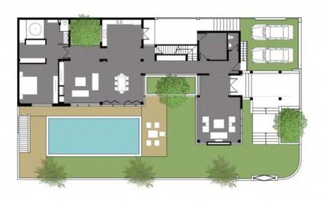 Thiết kế tầng 1 biệt thự có hồ bơi
