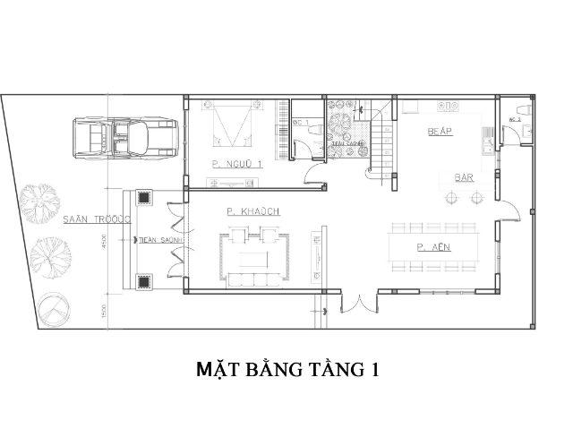 Mặt bằng tầng 1 biệt thự mini 2 tầng
